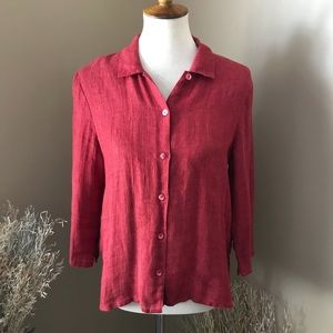 Eileen Fisher Reddish Brown Button Front Top Small